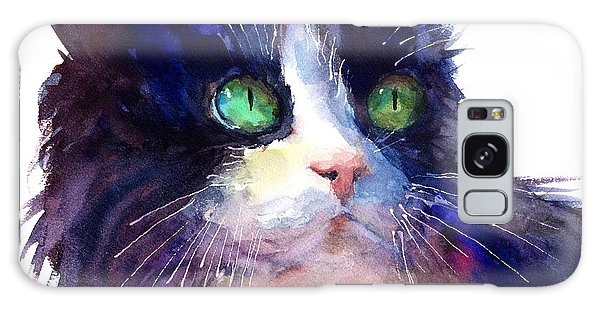 Watercolor Pet Portraits Galaxy Case - Watercolor Tuxedo Tubby Cat by Svetlana Novikova