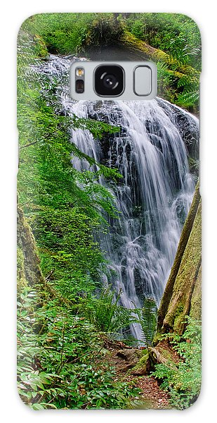 Waterfall And Green Vegetation Framed By Trees Galaxy Case by Jeff Goulden