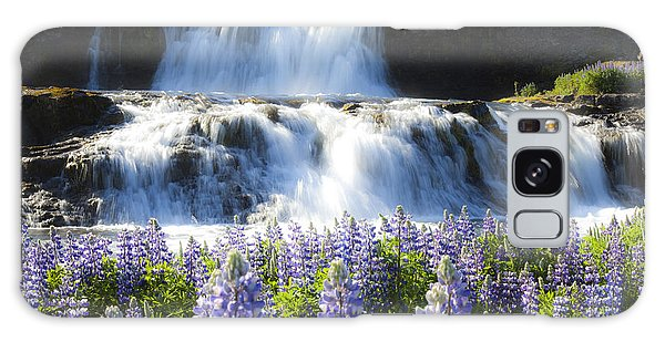 Waterfall With Flowers Galaxy Case