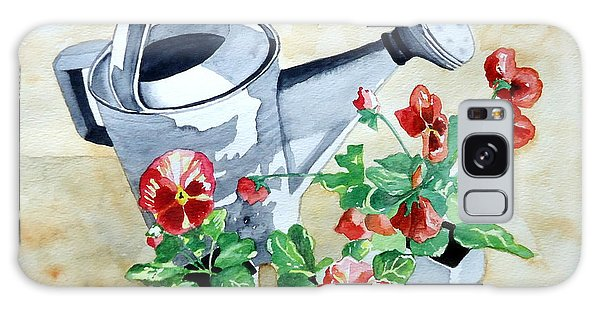 Watering Can With Pansies Galaxy Case