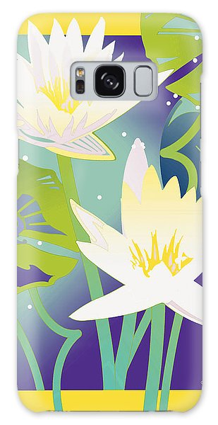 Waterlilies Yellow Border Galaxy Case