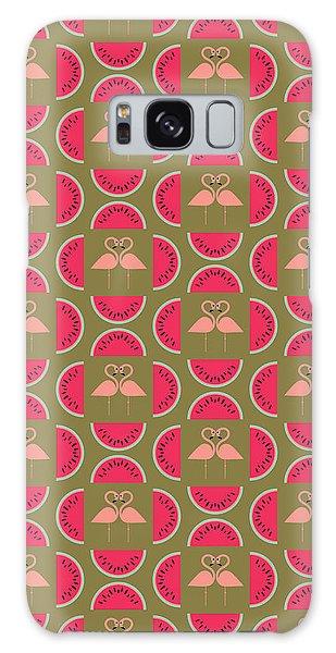 Watermelon Flamingo Print Galaxy Case by Susan Claire