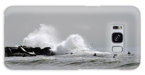 Waves Crash Against Beach 91st Jetty Galaxy Case by Maureen E Ritter