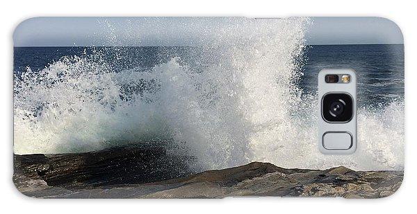 Waves Crashing On Rocky Maine Coast Galaxy Case