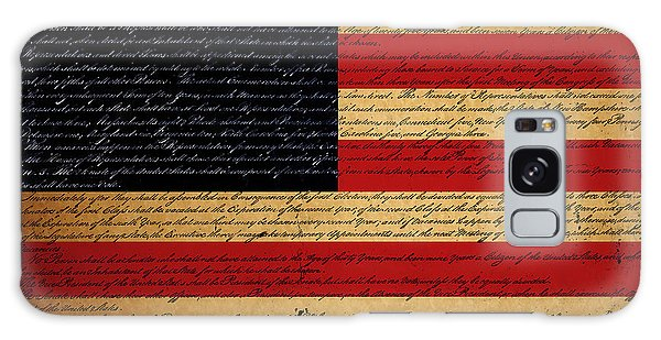 We The People - The Us Constitution With Flag - Square Galaxy Case
