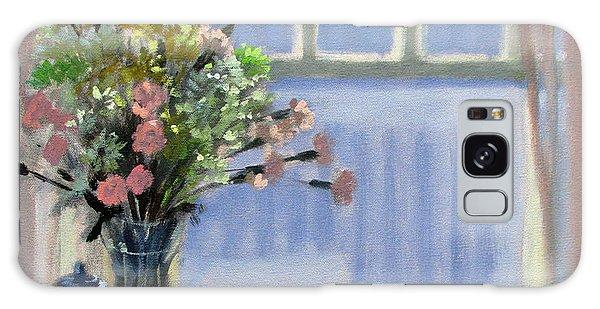 Wedgewood Blues - Flowers By The Window Galaxy Case by Bonnie Mason
