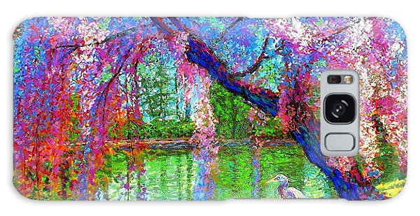 Blossoms Galaxy Case - Weeping Beauty, Cherry Blossom Tree And Heron by Jane Small