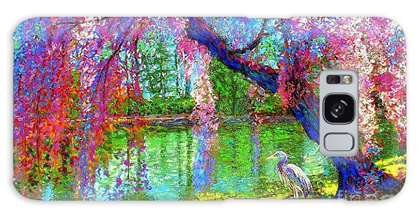 Herons Galaxy Case - Weeping Beauty, Cherry Blossom Tree And Heron by Jane Small