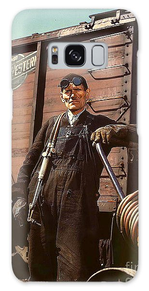 Welder At Proviso R R Yard 1943 Galaxy Case by Merton Allen
