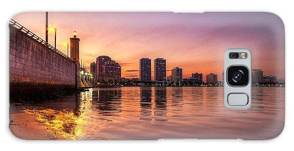 Flagler Galaxy Case - West Palm Beach Skyline At Dusk by Debra and Dave Vanderlaan