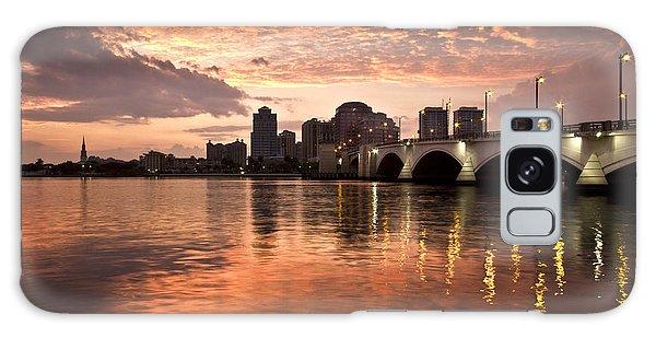 Flagler Galaxy Case - West Palm Beach Skyline At Sunset by Debra and Dave Vanderlaan