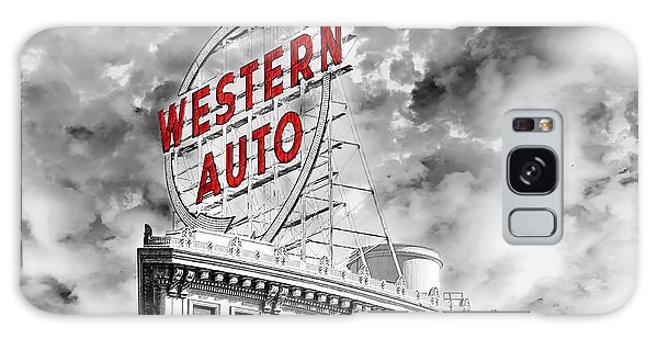 Western Auto Sign Downtown Kansas City B W Galaxy Case