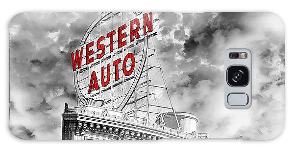 Western Auto Sign Downtown Kansas City B W Galaxy Case by Andee Design