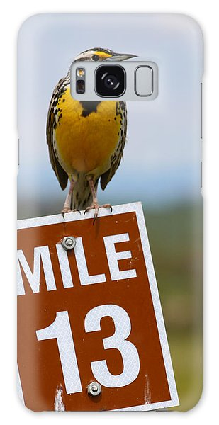 Western Meadowlark On The Mile 13 Sign Galaxy Case