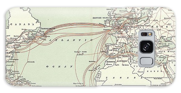 Usa Map Galaxy Case - Western Union Transatlantic Cables by Library Of Congress, Geography And Map Division