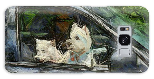 Westies Going For A Ride Galaxy Case by Carrie OBrien Sibley