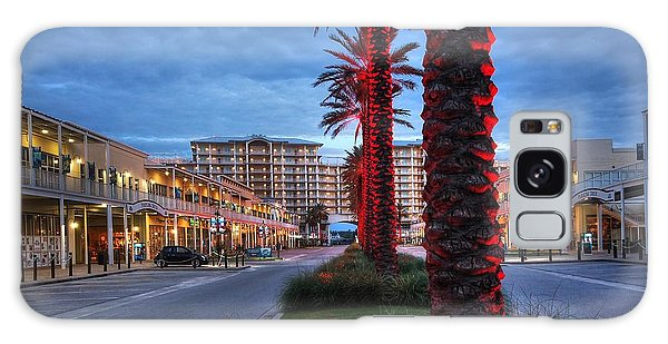 Wharf Red Lighted Trees Galaxy Case by Michael Thomas