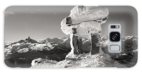 Whistler Summit Inukshuk Black And White Galaxy Case