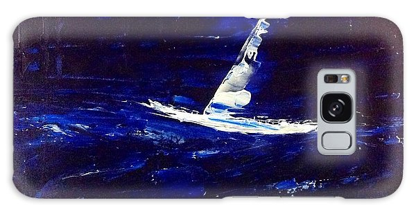 White Boat - Dark Sea And Sky Galaxy Case
