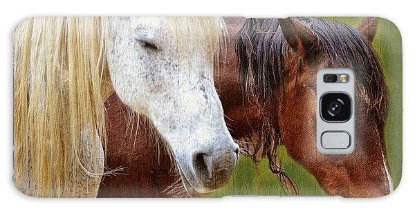 White And Brown Horse Galaxy Case