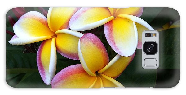White And Yellow Plumeria Galaxy Case