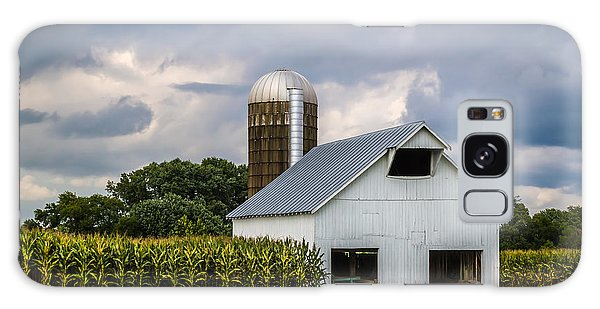 White Barn And Silo With Storm Clouds Galaxy Case