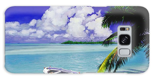 White Boat On A Tropical Island Galaxy Case