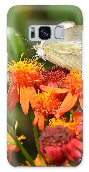White Butterfly On Mexican Flame Galaxy Case