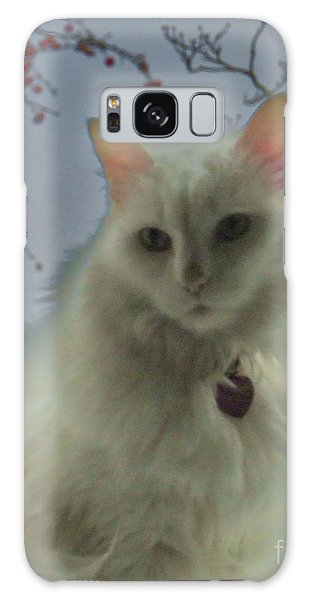 White Cat Dreams Galaxy Case by Judy Via-Wolff