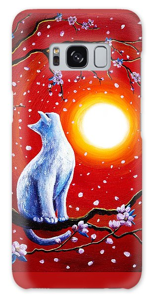 White Cat In Bright Sunset Galaxy Case