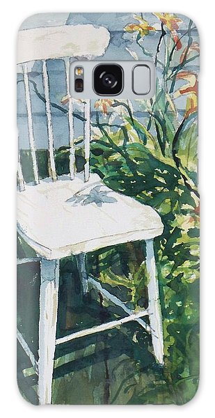 White Chair And Day Lilies Galaxy Case by Joy Nichols