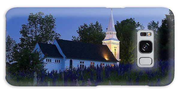 White Church At Dusk In A Field Of Lupines Galaxy Case