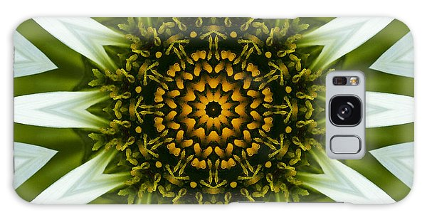 White Coneflower Mandala 12 Galaxy Case by Carrie Cranwill
