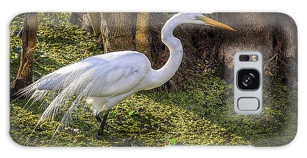White Egret On The Hunt Galaxy Case by Marvin Spates