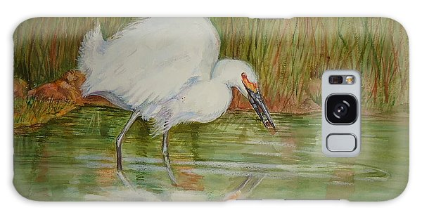 White Egret Wading  Galaxy Case