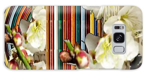White Flower Medley Colorful Rainbow Stripes On The Backdrop Artist Navinjoshi  Galaxy Case by Navin Joshi