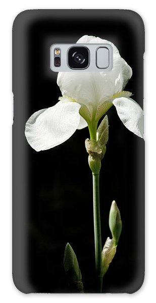White Flower On Black Galaxy Case