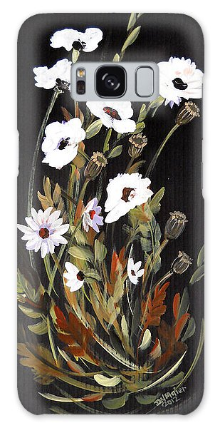 White Flowers Galaxy Case