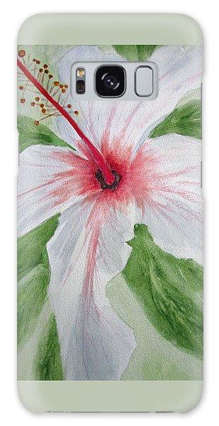 White Hibiscus Flower Galaxy Case