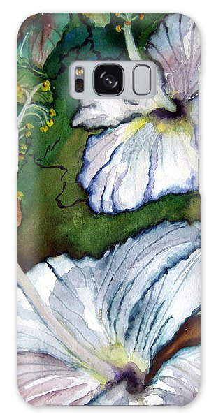 White Hibiscus Galaxy Case by Lil Taylor