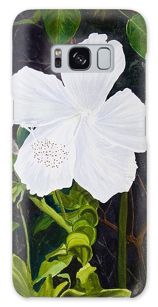 White Hibiscus Galaxy Case by Mike Robles