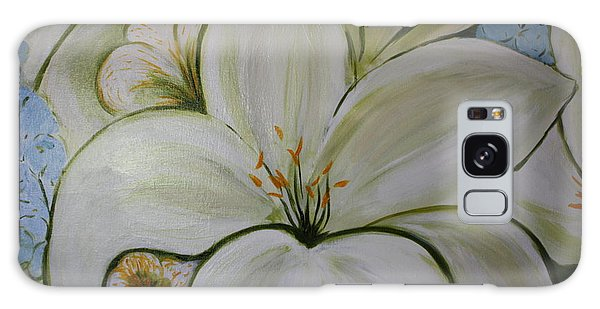 White Lilies And Delphinium Galaxy Case