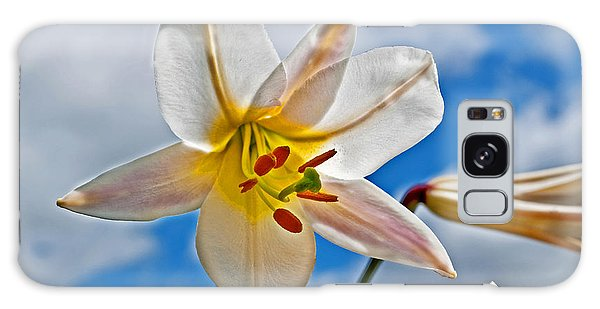 White Lily Flower Against Blue Sky Art Prints Galaxy Case