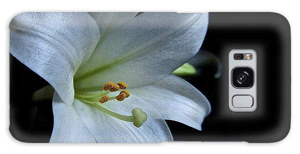White Lily On Black Galaxy Case by Lori Miller