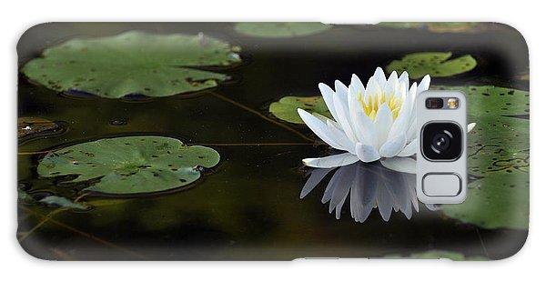 White Lotus Lily Flower And Lily Pad Galaxy Case by Glenn Gordon