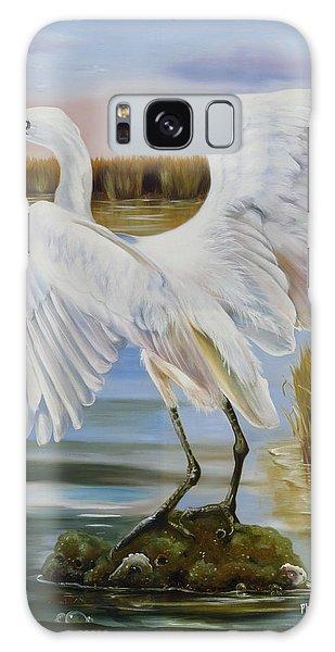 White Morph Reddish Egret At Creole Gap Galaxy Case by Phyllis Beiser