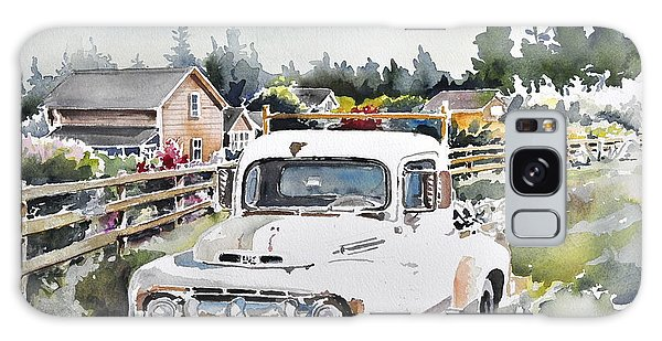 White Old Truck Parked Over The Fench Galaxy Case