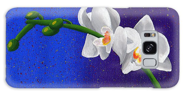 White Orchids Galaxy Case by Laura Forde