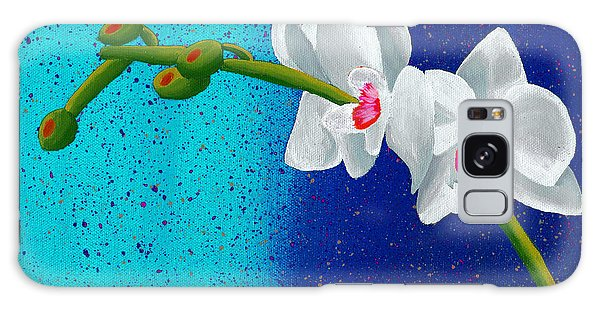 White Orchids On Blue Galaxy Case