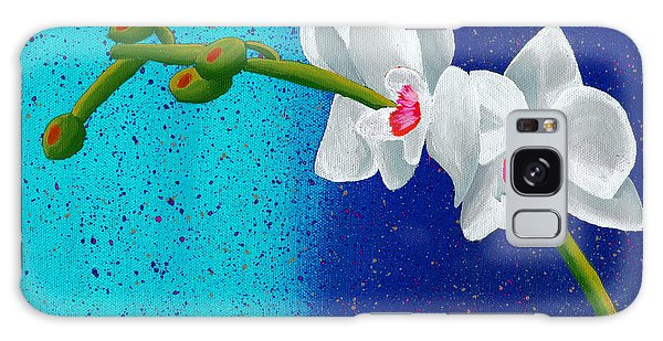 White Orchids On Blue Galaxy Case by Laura Forde